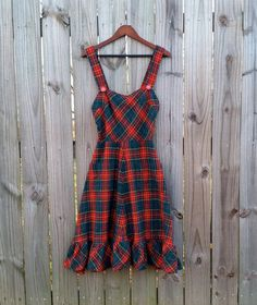 XS Vintage 70s Green Red Plaid Tartan Back by PinkCheetahVintage