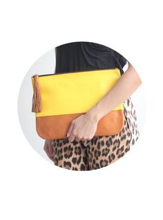 Colorblock Leather Tassle Clutch in Yellow and Tan by VellePurse, $45.00