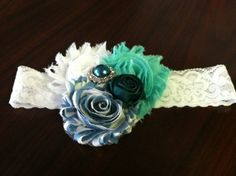 Beautiful FROZEN headband: Teal, white, and baby blue FROZENCollection, Shabby Chic Headband, Newborns, Young Girls on Etsy, $16.95