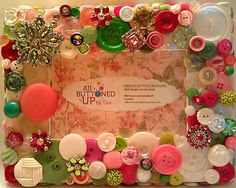 White Pink & Green Button Picture Frame for by allbuttonedupbytina, $40.00
