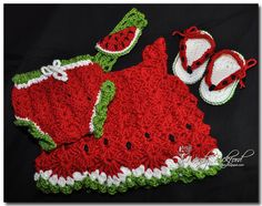 baby watermelon set by wendy bickford... dress and diaper cover made from free patterns @ ravelry