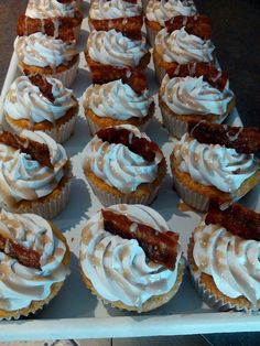 This is something new I tried today for my cake business.... maple Bacon cupcakes!  Yummm is all I can say! www.facebook.com/cakesbymel