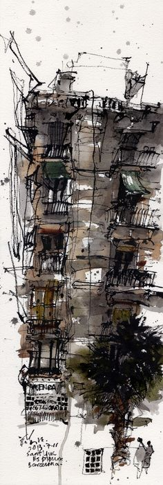 Barcelona by Ch'ng Kiah Kiean. Kiah Kiean is an architect, designer and artist. He has a loose, gestural sketching style with which he renders scenes of his native Penang, Malaysia.