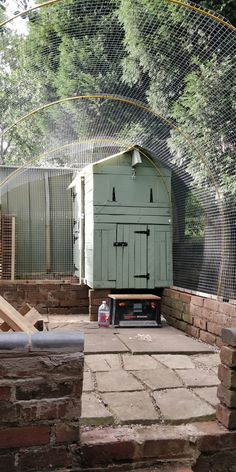"""Building the run with old tent poles and galvanised 1"""" wire. Just the front left to do now! Tent Poles, Chicken Runs, Wire, Cabin, Running, House Styles, Building, Home Decor, Chicken Coops"""
