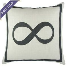 """Black and ivory linen pillow with a text motif. Handmade in the USA.  Product: PillowConstruction Material: LinenColor: Black and ivoryFeatures:  Handmade by TheWatsonShop in the USAInsert included Dimensions: 16"""" x 16""""Cleaning and Care: Dry clean recommended"""