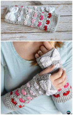 Crochet Puppy Love Arm Warmers Free Pattern - #Crochet Valentine Heart Gift Ideas Free Patterns