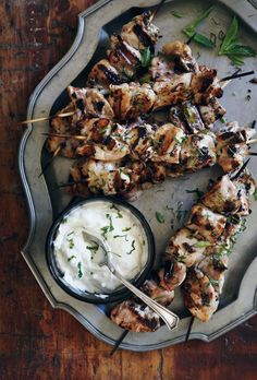 Greek skewers & cucumber-yogurt sauce.