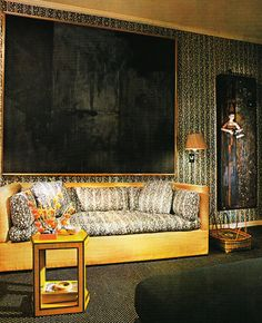 Interior Design by Arthur E. Smith for Architectural Digest, March 1980 Home Living Room, Living Room Designs, Living Spaces, 1970s Decor, Danish Interior, Interior Styling, Interior Design, Hanging Paintings, Architectural Digest