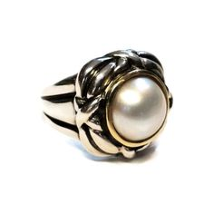 Vintage Mabe Pearl Sterling Silver and 14K Gold Ring Size 8 ($125) ❤ liked on Polyvore featuring jewelry and rings