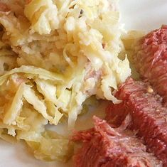 Colcannon - mashed potatoes with pancetta, green onions, and shredded cooked cabbage mixed in