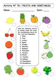 English worksheet: FRUITS AND VEGETABLES