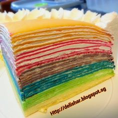 Rainbow Mille Crepes Cake Every time I look at this mille cake, I smile. :)…