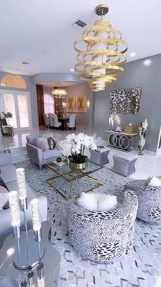 Glam Living Room, Decor Home Living Room, Elegant Living Room, Elegant Home Decor, Living Room Designs, Glamorous Living Rooms, Chandelier For Living Room, Glam Room, Kitchen Living