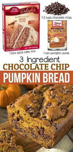 Cake Mix Desserts, Easy Desserts, Delicious Desserts, Dessert Recipes, Spice Cake Mix Recipes, Cupcake Recipes, Breakfast Recipes, Moist Pumpkin Bread, Pumpkin Chocolate Chip Bread