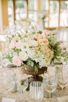 Blush and Ivory Centerpiece | photography by http://mattedgeweddings.com