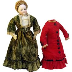 "Antique Bru French Fashion doll 13""  round face swivel head kid body original clothes monogrammed unders straw bonnet 2 costumes Keystone boots cork pate HH wig"