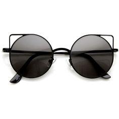 0fb8ce398dd Trendy Womens Thin Metal Circle Cat Eye Fashion Sunglasses 9174 (€8