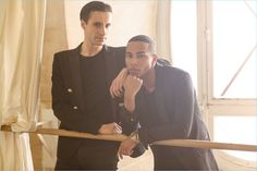 Sébastien Bertaud and Olivier Rousteing pose for a photo.