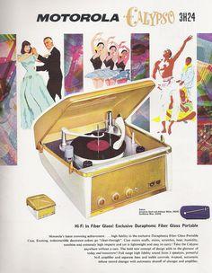 Vintage record ad: Motorola Calypso 3H24 turntable