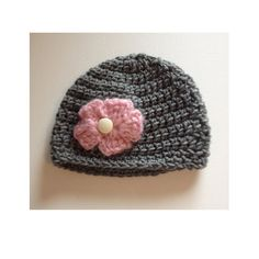Grey baby hat, preemie beanie, made to order,  Crochet baby hat, photo prop, pink flower hat, cute beanie, baby girl hat, shower gift by CarrowayCrochet on Etsy
