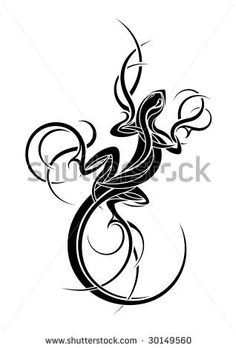 stock vector : Lizard tribal tattoo design