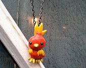 Pokemon Necklace- Torchic Polymer Clay Charm