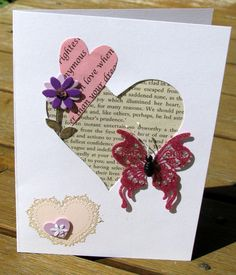 $$FOR SALE$$ Love Story - Handmade Card - valentines day, valentines day card, recycled materials, pink hearts, i love you, purple hearts, purple flowers...