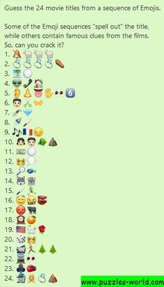 Guess the 24 Movie titles from a sequence of Emojis All are Hollywood movies. Guess The Emoji Answers, Quiz With Answers, Name That Movie, Guess The Movie, Emoji Puzzle, Emoji Names, Film Quiz, Sequence Game, Emoji Quiz