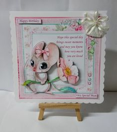 - 3 sheet mini kit with step by step decoupage. Topper is approximately 8 inch or can be reduced in size for smaller cards. Decoupage, Birthday Cards For Women, Cute Mouse, Small Cards, Printable Crafts, Happy Anniversary, Cute Cards, Ribbon Bows, Happy Mothers Day