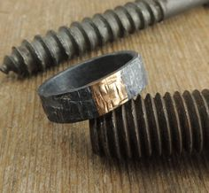 Recycled 14k Gold and Sterling Silver, Men's Wedding Band, Mens Wedding Ring, Handmade, Simple Mens Band on Etsy, 245,00 $