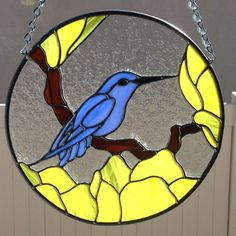 Stained Glass Blue Bird on Branch With Yellow Flowers by FoxStainedGlass