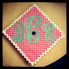 Graduation cap with monogram