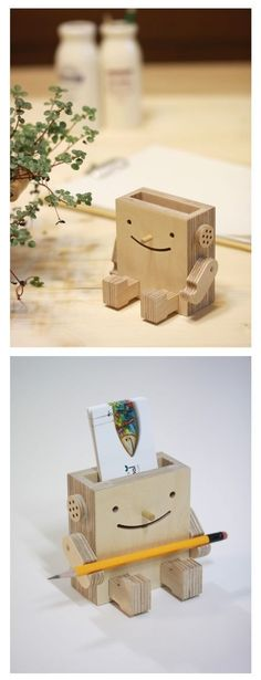 Business Card Holder: 47 Cool Designs to Inspire You Wooden Robot Business Card Holder . Cool Woodworking Projects, Diy Wood Projects, Diy Woodworking, Projects To Try, Business Card Maker, Cool Business Cards, Business Card Holders, Wooden Crafts, Diy And Crafts