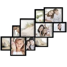Adeco Decorative Black Wood Wall Hanging Photo Frame Collage with 10 Clustered Openings - Walmart.com