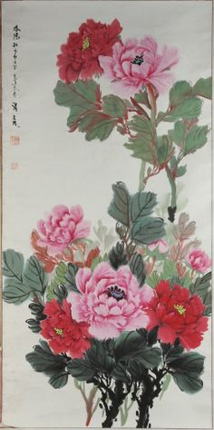 JP: China, 20th C., scroll painting, ink and color on paper, beautiful detail of deep pink and red peonies with their stems and leaves,
