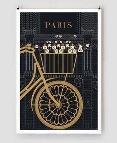 Paris Print, Black and Gold Large Wall Art, Paris Illustration, Art Deco Poster Print, Black Paris Decor by TheParisPrintShop on Etsy Paris 3, I Love Paris, Paris Movie, Paris Cafe, Art Deco Paris, Paris Decor, Illustration Parisienne, Illustration Art, Bicycle Illustration
