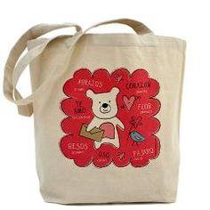 Hugs + Kisses Tote Bag > Bebe Bilingual by Kimberly Schwede. Fun Valentine gift.