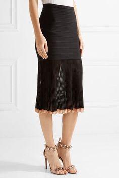 Hervé Léger - Ribbed-knit And Bandage Skirt - Black - x small