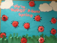 "Trinity Preschool Mount Prospect: Lady Bug ""We're ""buggy"" about spring"" bulletin board Ladybug Bulletin Boards, February Bulletin Boards, Summer Bulletin Boards, Birthday Bulletin Boards, Reading Bulletin Boards, Preschool Bulletin Boards, Classroom Bulletin Boards, Bullentin Boards, Classroom Door"