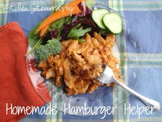 Homemade Hamburger Helper - A from-scratch, homemade hamburger helper recipe using real food. A kid-friendly and husband-approved easy real food dinner! Lunch Recipes, Beef Recipes, Real Food Recipes, Dinner Recipes, Cooking Recipes, Healthy Recipes, Cooking Tips, Homemade Cheeseburgers, Recipe Using