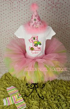 Pink John Deere birthday set by AlexaNoelBoutique on Etsy, $65.00