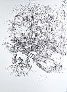 Pen and ink sketch of a summer day on the San Antonio riverwalk; 7x9, on dArches watercolor paper. This pen and ink sketch was done on sight while