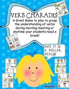 Verb Charades A Fun Game Anytime to Reinforce Verbs Dollar Deal