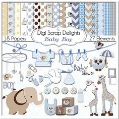 Baby Boy Blue Digital Paper Scrapbooking in Patterned Blue, Brown, Tan and…