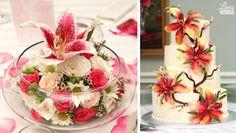 stargazer lily themed wedding | Lily Wedding Cake and Centerpiece @Rachel Hinderliter (Lines Across)