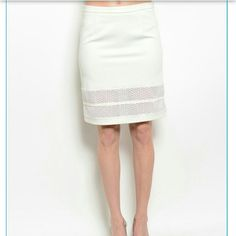 """Ivory skirt with mesh cutout Ivory skirt cut to fall above knee, straight cut. 95% polyester,  5% spandex.  Has some stretch. SZ S, M, L. Length of SM is 20"""", waist is 26"""" plus stretch.   Please don't buy this listing, allow me to make you a new one. NWT RETAIL is always buy 3, get 1 free. Exchange allowed, see About NWT Retail listing for T&C. Skirts"""