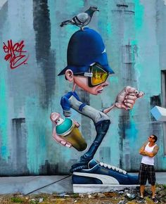 By SmogOne via Street Art Infinity Urban Street Art, Best Street Art, Amazing Street Art, Grafitti Street, Murals Street Art, Graffiti Cartoons, Graffiti Characters, Graffiti Artwork, Mural Art