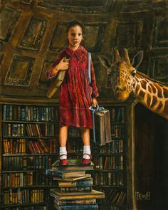 One Thousand Stories High. Lori Preusch. Acrylic on canvas. Love her calm determination, she looks well informed and ready to go. And she has a giraffe friend too.