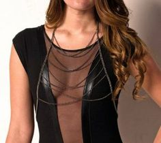 Black Irregular Multi Layers 2 Ways Body Harness Chains Trendy Jewelry