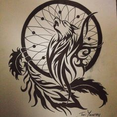 """Wolf and Dream Catcher Tribal Pen Drawing! Tattoo Style! #wolf #feather…"